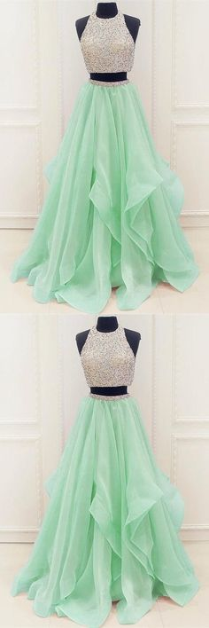 Two piece prom dress, mint green tulle long prom dress, round neck beading prom dress by MeetBeauty, $160.32 USD