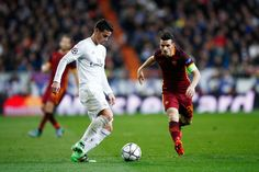 Alessandro Florenzi of Roma closes down James Rodriguez of Real Madrid during the UEFA Champions League Round of 16 Second Leg match between Real Madrid and Roma at Estadio Santiago Bernabeu on March 8, 2016 in Madrid, Spain. (March 7, 2016 - Source: Gonzalo Arroyo Moreno/Getty Images Europe)