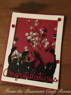 From the Basement Craft Room: Graduation Shaker (impression obsession) Basement Craft Rooms, Impression Obsession, Shaker Cards, Graduation Cards, Card Ideas, Congratulations, Greeting Cards, Crafts, Manualidades