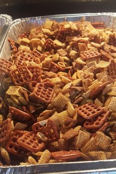 A spicy, salty, and addictive cereal snack mix makes a big batch for giving away or serving in bowls at parties. It's great to send to your deployed loved ones, and it keeps well in the freezer. Snack Mix Recipes, Spicy Recipes, Appetizer Recipes, Appetizers, Snack Mixes, Christmas Trash Recipe, Christmas Treats, Christmas 2017, Christmas Candy
