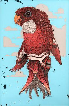 hybride-dieren-illustraties-Nicholas-Di-Genova-2. De in Toronto gevestigde kunstenaar Nicholas Di Genova maakte zijn eerste hybride stuk rond 2002. Op dat moment maakte hij ook meer street art. Toen waren het trouwens ook meer monstertjes die door de loop der tijd steeds dierlijker werden. Interessant om te weten is dat hij door sommige docenten op de academie de hint kreeg om wat anders te gaan doen en de school te verlaten.