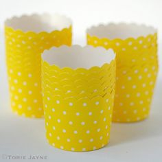 Yellow & white spot baking cups by Torie Jayne Cupcake Cases, Baking Cups, Beautiful Cakes, Planter Pots, Candle Holders, Candles, Yellow, Cupcakes, Facebook