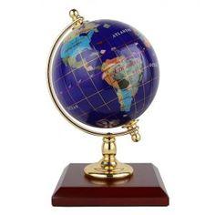 Genuine Multi-Gemstone Desktop Globe Chrome Base Black Pearl Globe Free S /& H