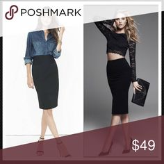 Express Black Pencil Skirt ✨Excellent Like New Condition✨Sexy with a sophisticated edge. This beautiful skirt can be worn professionally or for a fun girls night out. Incredible weight fabric offering a seamless expensive wrinkle free look. 💌Thank You for your Interest!!😘 ❌NO Trades❌ 💲Price FIRM, Use the Bundle Discount: 4️⃣Items=20%OFF!! Express Skirts Pencil