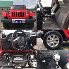 2013 'Red' Jeep Wrangler Unlimited Sahara 4x4.  MANUAL. DUAL TOP. TOW. Stock 18087A. Click pic for more info.