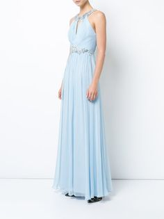 Marchesa Notte floral-sequined pleated gown