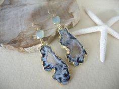 Agate Earrings, Agate Slice Geode Earrings, Sea Blue Chalcedony Bezel, 14K Gold Filled Earrings, Gold Bezel Earring, Jewelry Gifts For Her by GemJewelrybyHWestNY on Etsy