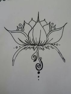 Japanese Fish And Lotus Flower Tattoo Outline On Paper