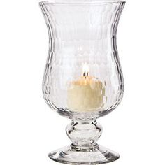 "Small Clear Glass Hurricane Candle Holder.  4"" D x 7.5"" H. Antique style in ethereal sea glass. Mix and Match with our many other vintage styles. For flowers or our use with our Flameless Tea Lights or Pillar Candles."