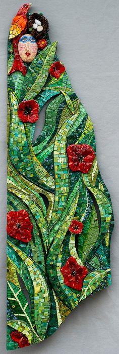 "Primavera | Irina Charny Mosaics 14"" x 45"" x 3"" smalti, gold, pebbles, millefiori 2009 Collection of the Crocker Art Museum, Sacramento, CA"