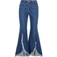 SJYP Steve J & Yoni P Frayed mid-rise flared jeans (3,495 MXN) ❤ liked on Polyvore featuring jeans, pants, bottoms, blue, destroyed jeans, slit jeans, destructed jeans, button-fly jeans and blue ripped jeans