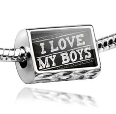 "Amazon.com: Neonblond Beads Chalkboard with ""I Love my Boys"" - Fits Pandora Charm Bracelet: NEONBLOND Jewelry & Accessories: Jewelry"