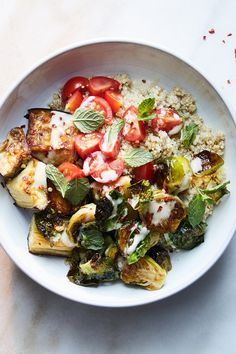 Quinoa Bowl With Crispy Brussels Sprouts, Eggplant and Tahini Recipe - NYT Cooking