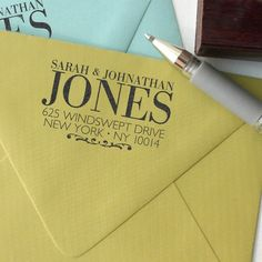 I hear this gal does the BEST custom return address stamps and is highly recommended.