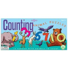 eeBoo Counting Animal Puzzles by eeBoo. $14.99. Made from sturdy board. 10 puzzles. Completed puzzles are 6? x 5.5?. This counting puzzle game will teach a child the numbers 1?10 and how to spell each number. There are 10 counting puzzles, each with 3 puzzle pieces bearing letters that makes up the number, with corresponding illustrations to guide the way. Only the correct pieces will fit together so the puzzles are self-correcting. These three-piece puzzles are of...