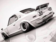 GT-R Hakosuka   I like - http://extreme-modified.com/ Tuner Cars, Jdm Cars, Slammed Cars, Classic Japanese Cars, Bugatti, Nissan Gtr Skyline, Drifting Cars, Japan Cars, Import Cars