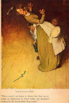 Las Aventuras de Tom Sawyer (ilustrado por Norman Rockwell) #FigurasDeBronce #Artesanía #EsculturasMorla