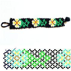 I designed this bracelet inspired from daisy flowers. Seed Bead Necklace, Beaded Earrings, Beaded Bracelets, Daisy Bracelet, Bracelet Crafts, Beaded Bracelet Patterns, Beading Patterns, Bead Loom Designs, Beaded Flowers