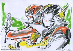 Go Nagai in 30 (fantastici) sketch Manga Anime, Anime Art, Vs Go, Character Art, Character Design, Ghost In The Shell, Manga Comics, Japanese Art, Cool Photos