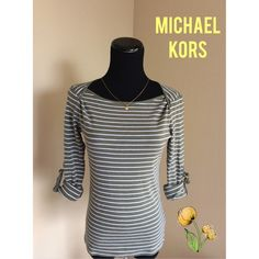 Michael Kors convertible sleeve top, XS-S Moss green 3/4 top convertible to long sleeves in good pre-loved condition (see pictures for fabric state). 100% cotton, size XS but runs large--I am a size S and it fit me like a glove. Approximately 21 inches long and works well with hipster bottoms. No trades/PP/Lowballing, please. Price firm. Thanks for dropping by! Michael Kors Tops