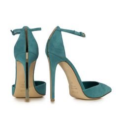 Le Silla  PUMP IN VELOUR, TURQUOISE SUEDE CALFSKIN