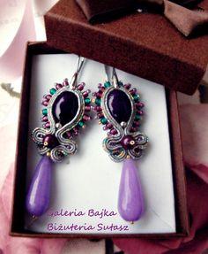 """Kolczyki sutasz (soutache)  """"Violet"""" w Galeria Bajka Soutache Jewelry na DaWanda.com"""