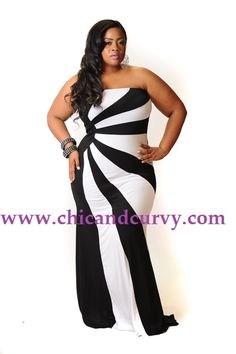 New Plus Size Black and White Starburst Gown 1x 2x 3x available at www.chicandcurvy.com