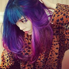 Dark Brown Hair With Purple And Pink Highlights Hair