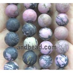 Rhodonite Beads, matte round (GMLB2541-8MM) approx 8mm dia