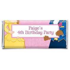 Check out Beauty & The Beast Personalized Candy Bar Wrapper - Party Supplies & Candy from Birthday In A Box