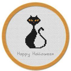 Halloween Cross Stitch Patterns   Halloween Black Cat Cross Stitch ...