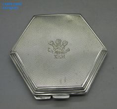 VINTAGE XRH  PRINCE OF WALES OWN  SOLID STERLING SILVER COMPACT,T&S, BIRM 1947