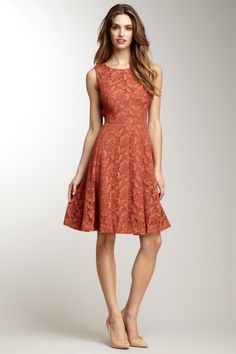 {Sleeveless Pleated Lace Dress} Anne Klein