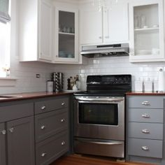 Decoration White And Dark Blue Wood Combine Two Tone Kitchen ...