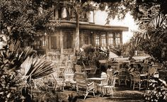 The tea Gardens at Mena House, circa 1940's