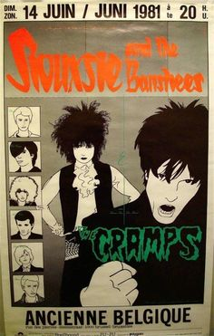 [Belgian concert poster for Siouxsie and the Banshees and The Cramps, Band members are all drawn in a minimalist, cartoon-like illustration style] Rock Posters, Band Posters, Music Posters, Rockabilly, Punk Poster, Gig Poster, Siouxsie & The Banshees, Siouxsie Sioux, Movies