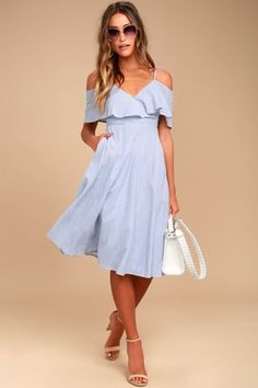 There is nothing but easy listening ahead in the Yacht Rock Blue and White Striped Off-the-Shoulder Midi Dress! Striped midi dress with short, off-the-shoulder sleeves. Day Dresses, Blue Dresses, Dress Outfits, Short Dresses, Floral Dresses, Blue Summer Dresses, Vacation Dresses, Midi Dresses, Outfit Summer