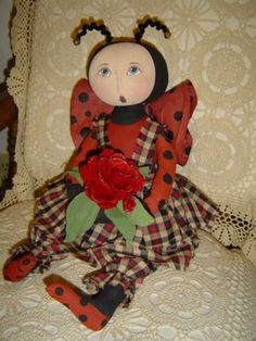 Lady Bug Doll and pattern by Rhonda of Raggedyrhondas.com