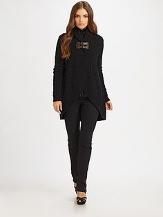 Ralph Lauren Blue Label - Wool/Cashmere Leather Buckle Sweater - Saks.com