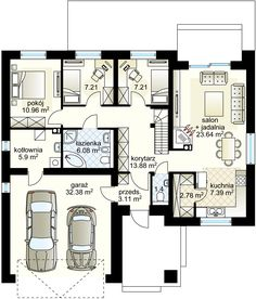 Projekt domu Oaza 89.56 m² - Domowe Klimaty House Plans Mansion, My House Plans, Simple Bungalow House Designs, Building Design, Building A House, Circle House, Three Bedroom House Plan, Beautiful House Plans, House Entrance