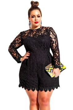 Chicloth Black Plus Size Long Sleeve Lace Romper