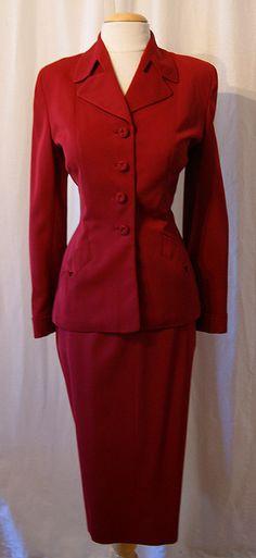 Vintage 1940's Garnet Red Virgin Wool Gabardine 2 piece tailored Suit w/ straight skirt. Size M - $298