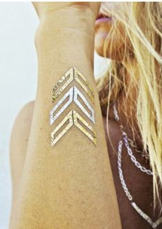 Golden Birthday Gifts for Best Friend BFF Going on a Beach Vacation: Chevron Metallic Gold Temporary Tattoo by Cheri Trendy @ Etsy