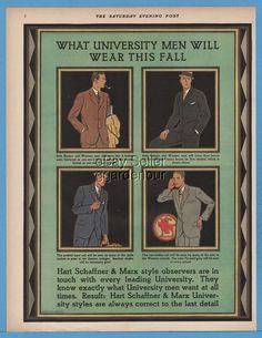 1929 Hart Schaffner & Marx University Men Suit Style 1920's College Fashion…