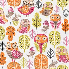 Acorn Forest Fabric by Robert Kaufman SWEET Cute Orange and Pink Forest Owls with Leaves and Acorns