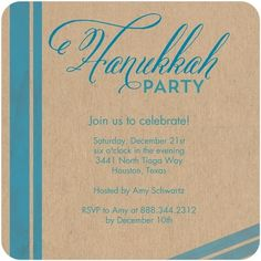 Luxe turquoise stripes accent this Hanukkah party invitation.