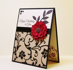Classic Handmade Birthday Card, Distressed Flower, Red and Black, Luxurious auf…