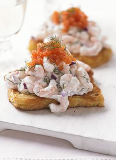 Skagen toast: Invented by Swede Tore Wretman in 1958, skagen is now firmly established as a traditional dish. It's super quick to make, why not try it as a simple starter. It's really easy and makes a nice, sophisticated change to a prawn cocktail.