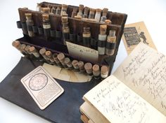 1860s Doctor's Traveling Apothecary Kit: Antique Collection of 45 Vials (& Medical Contents!) in Case, Plus Diary Receipt Book and Ad Cards