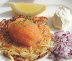 As part of our mission to find the world's tastiest food we have arrived in Sweden to enjoy a Sea & Garden Menu. For our starter we have Crispy Potato Pancake with Fish Roe - serves four people. If you have any tweaks, suggestions or you have tried the recipe and love it let us know!